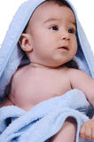 Baby wears bath towel Stock Photos