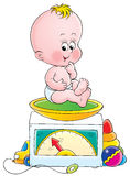 Baby weight. Illustration for children. A series Baby Stock Image