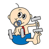Baby Weights. Baby infant lifting weights while sitting Royalty Free Stock Photos