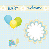 Baby welcome. Vector; Greeting card with the inscription baby welcome with a turtle and a balloon on the abstract background Stock Images