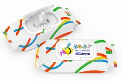 Baby Wet Wipes Package. 3d Rendering. Baby Wet Wipes Package on a white background. 3d Rendering Stock Images