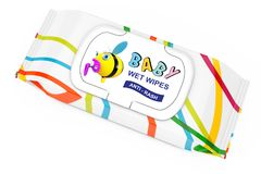 Baby Wet Wipes Package. 3d Rendering. Baby Wet Wipes Package on a white background. 3d Rendering Stock Photos