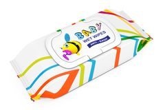Baby Wet Wipes Package. 3d Rendering. Baby Wet Wipes Package on a white background. 3d Rendering Stock Photo