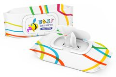 Baby Wet Wipes Package. 3d Rendering. Baby Wet Wipes Package on a white background. 3d Rendering Royalty Free Stock Photo