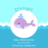 Baby whale It's a girl card design Baby shower invitation template Stock Image
