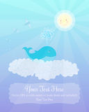 Baby whale, the Sun and flying fish in the sky Stock Images
