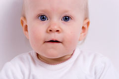 Baby on white. A young child sits posing on white backdrop stock images
