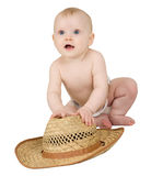 Baby on a white background with straw hat Stock Photo