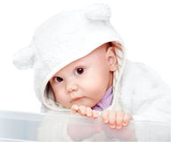 Baby in white bear costume on white. Little baby in white bear costume on white background royalty free stock image