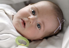 Baby on White Blanket Royalty Free Stock Photo