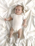 Baby on White Blanket Royalty Free Stock Photography