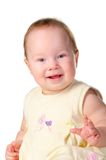 Baby white dress camera smile close Royalty Free Stock Images