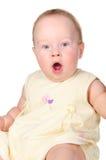 Baby white dress surprised close  Stock Image