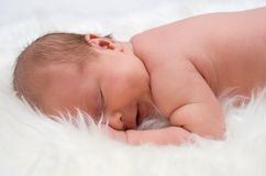 Baby on white furs Stock Photography