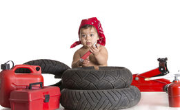 Baby white garage royalty free stock photography