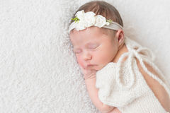 Baby with white hairband, dressed in suit Royalty Free Stock Photos