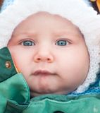 Baby in white hat Royalty Free Stock Photo