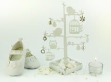 Baby white invitation birthday or christening background Stock Images