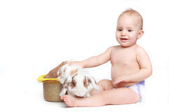 baby with white rabbit Stock Images