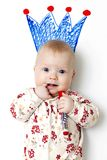 Baby in White and Red Floral Pajama Stock Photo