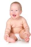 Baby white sit smile  Stock Photo