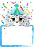 Baby White Tiger Birthday Stock Image