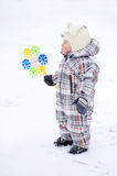 Baby with whizzer in winter Stock Images