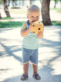 Baby with wicker ball Royalty Free Stock Image