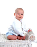 Baby on Wicker Bench stock photos