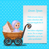 Baby in wicker stroller and postcard for your text Stock Photography