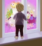 A baby by the window Royalty Free Stock Images