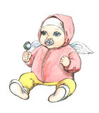Baby with wings. Red jacket, green rattle Stock Images