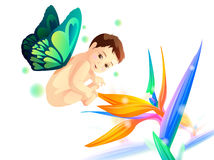 Baby with wings. Baby with butterfly wing fly over flower Royalty Free Stock Photography