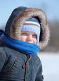 Baby in winter Stock Images