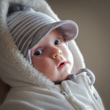Baby in winter. Adorable baby boy in winter clothes Royalty Free Stock Image