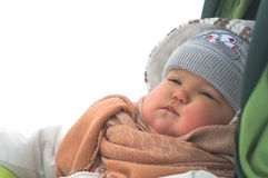 Baby in winter clothes Stock Image