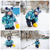 Baby in winter clothes in snow. A child in winter clothes and hat panda in snow Stock Photo