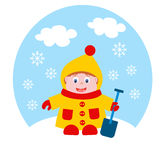 Baby in winter. On white background Stock Images