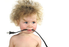 Baby is wired stock photography