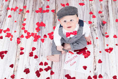 Baby wishing happy valentines Royalty Free Stock Photography