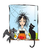 Baby witch with black cat, raven. And spider looking out the window -color illustration Stock Images