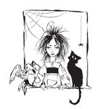 Baby witch with black cat,  raven and spider Royalty Free Stock Photos
