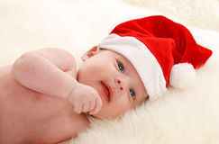 Baby With Santa Claus Hat Royalty Free Stock Photos