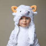 Baby With Sheep Hat New Year 2015 Stock Photo