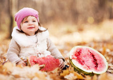 Free Baby With Watermelon Stock Photography - 21656162