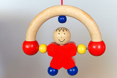 Baby wood toy - rolling man Stock Photo