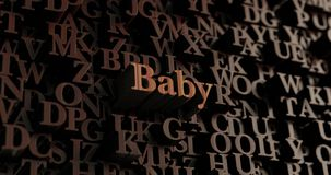 Baby - Wooden 3D rendered letters/message. Can be used for an online banner ad or a print postcard Stock Photo