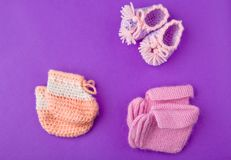 Baby wool shoes studio. Quality light royalty free stock photo