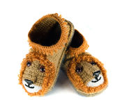 Baby woolen booties royalty free stock images