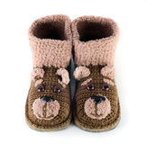 Baby woolen booties royalty free stock photography